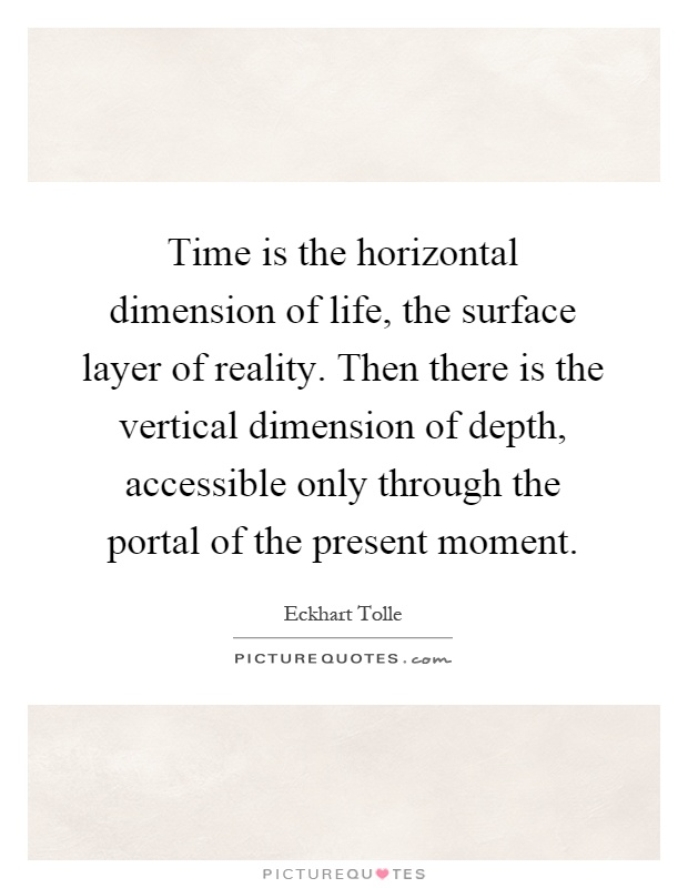 Time is the horizontal dimension of life, the surface layer of reality. Then there is the vertical dimension of depth, accessible only through the portal of the present moment Picture Quote #1