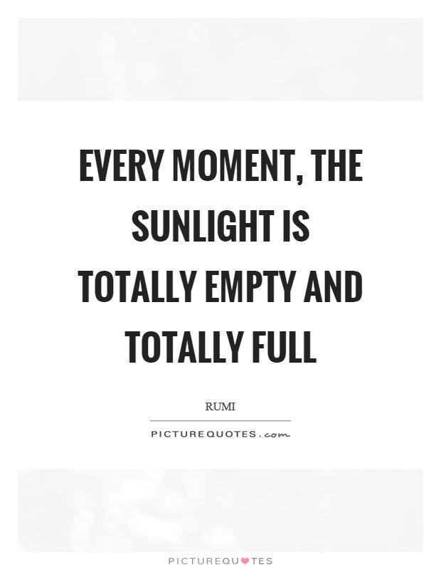 Every moment, the sunlight is totally empty and totally full Picture Quote #1