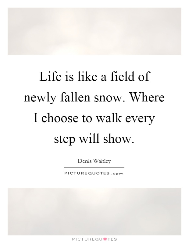 Life is like a field of newly fallen snow. Where I choose to walk every step will show Picture Quote #1