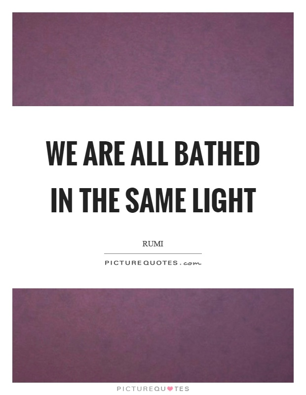 We are all bathed in the same light Picture Quote #1