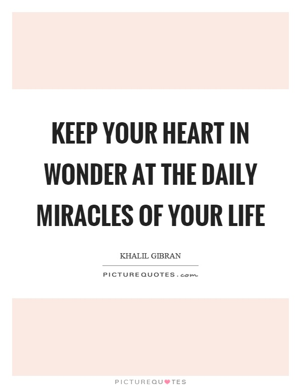 Keep your heart in wonder at the daily miracles of your life Picture Quote #1