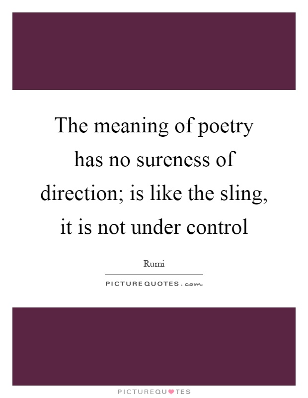 The meaning of poetry has no sureness of direction; is like the sling, it is not under control Picture Quote #1