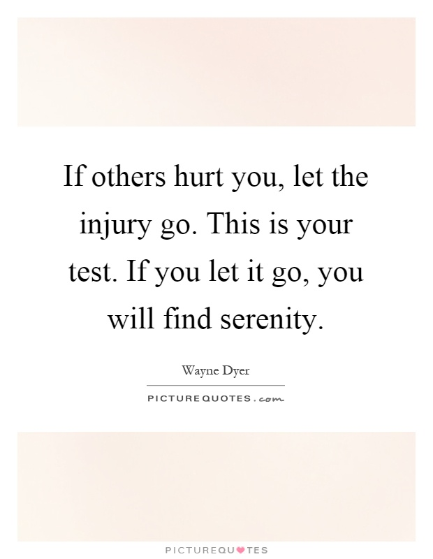 If others hurt you, let the injury go. This is your test. If you let it go, you will find serenity Picture Quote #1