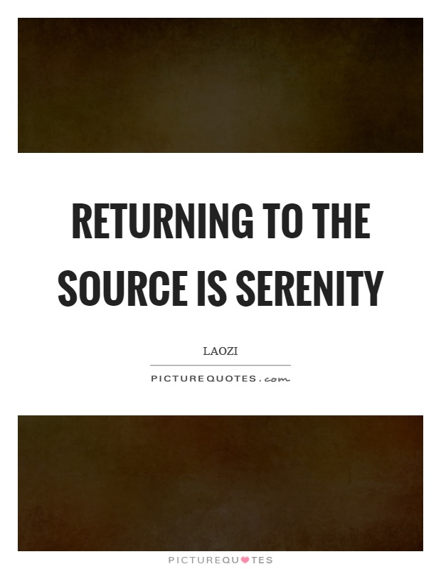 Returning to the source is serenity Picture Quote #1