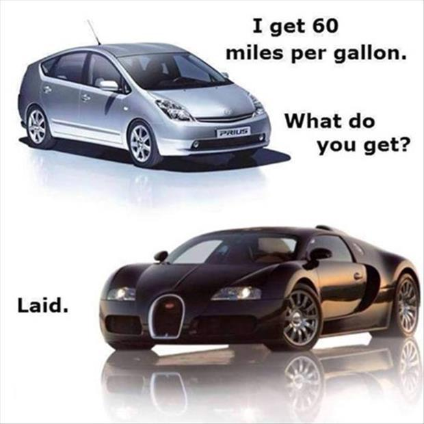 I get 60 miles per gallon, what do you get? Laid Picture Quote #1