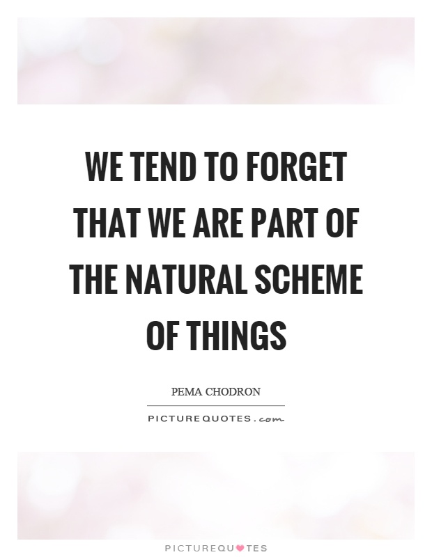 We tend to forget that we are part of the natural scheme of things Picture Quote #1