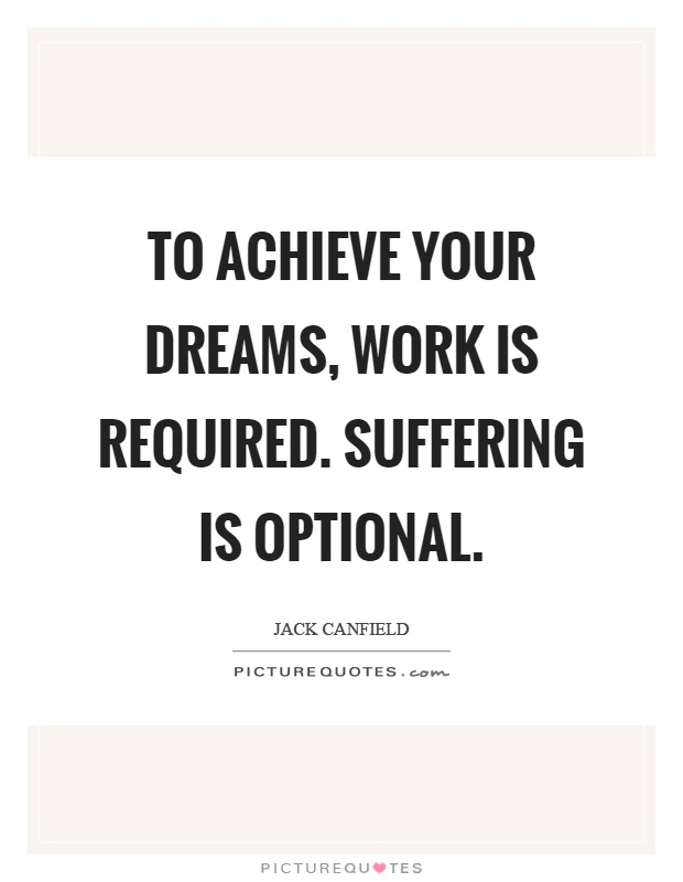 To achieve your dreams, work is required. Suffering is optional Picture Quote #1