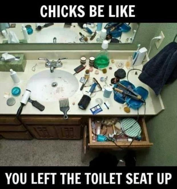 Chicks be like.. you left the toilet seat up Picture Quote #1