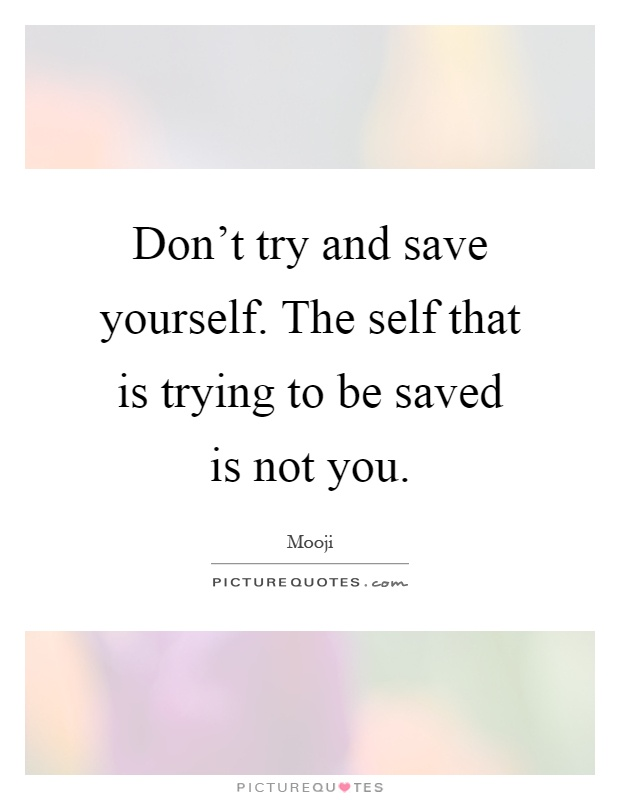 Don't try and save yourself. The self that is trying to be saved is not you Picture Quote #1