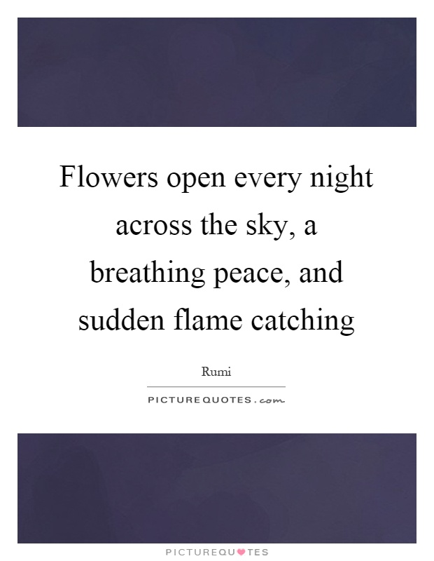 Flowers open every night across the sky, a breathing peace, and sudden flame catching Picture Quote #1