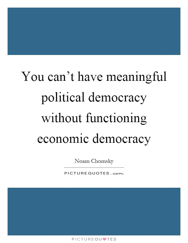 You can't have meaningful political democracy without functioning economic democracy Picture Quote #1
