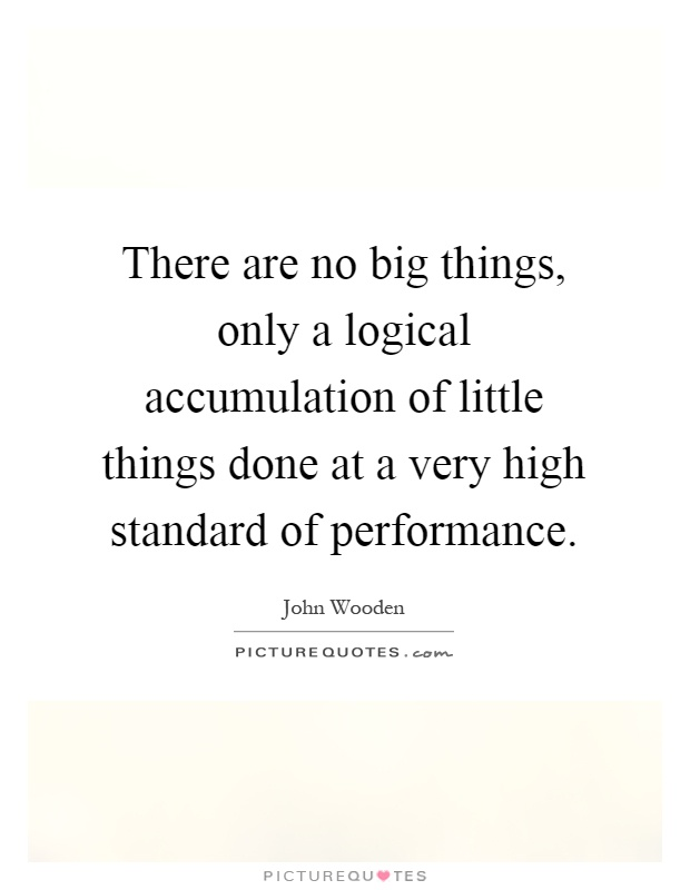 There are no big things, only a logical accumulation of little things done at a very high standard of performance Picture Quote #1