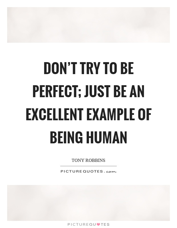 Don't try to be perfect; just be an excellent example of being human Picture Quote #1