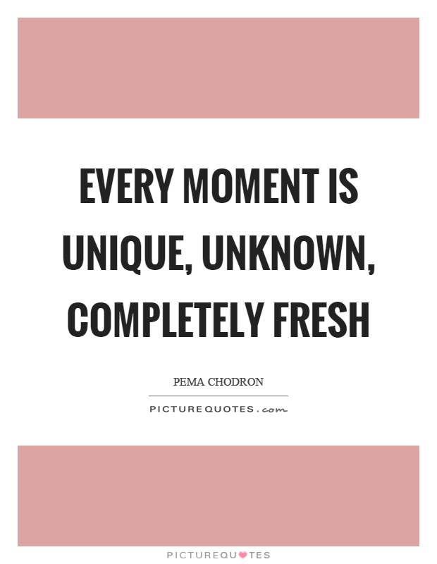 Every moment is unique, unknown, completely fresh Picture Quote #1