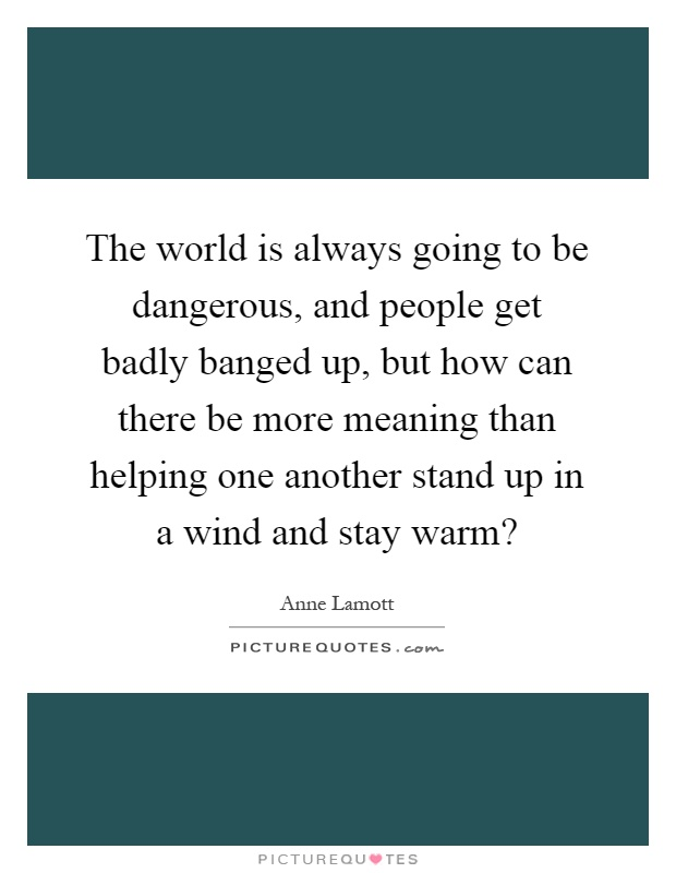The world is always going to be dangerous, and people get badly banged up, but how can there be more meaning than helping one another stand up in a wind and stay warm? Picture Quote #1