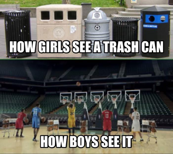 How girls see a trash can. How boys see it Picture Quote #1