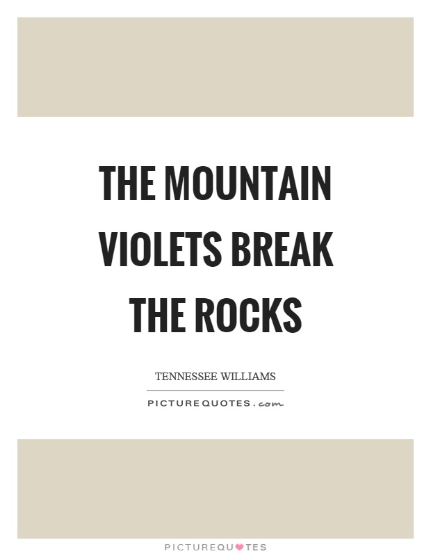 The mountain violets break the rocks Picture Quote #1
