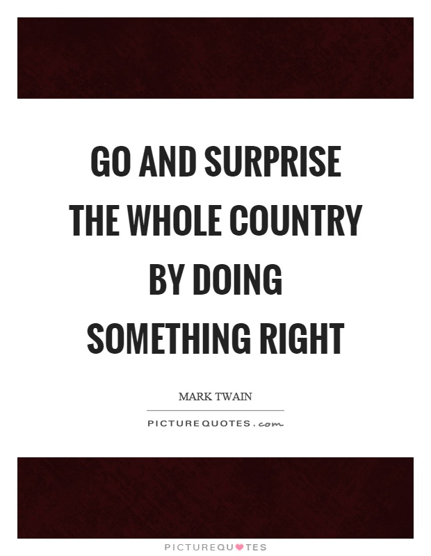Go and surprise the whole country by doing something right Picture Quote #1