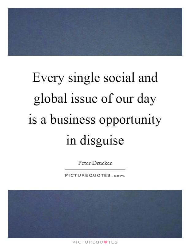 Every single social and global issue of our day is a business opportunity in disguise Picture Quote #1