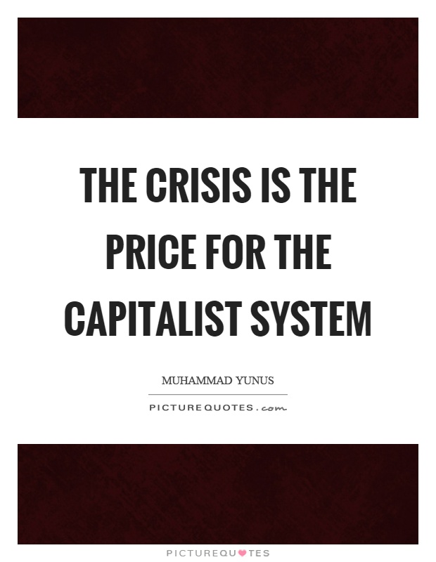 The crisis is the price for the capitalist system Picture Quote #1