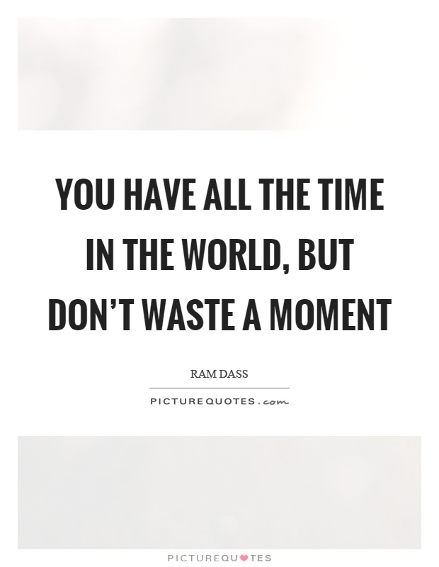 You have all the time in the world, but don't waste a moment Picture Quote #1
