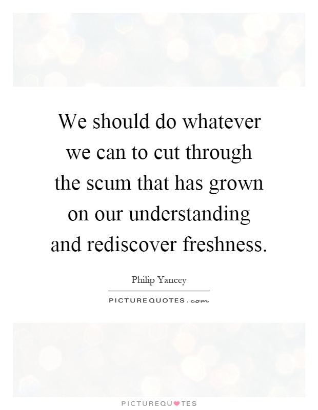 We should do whatever we can to cut through the scum that has grown on our understanding and rediscover freshness Picture Quote #1