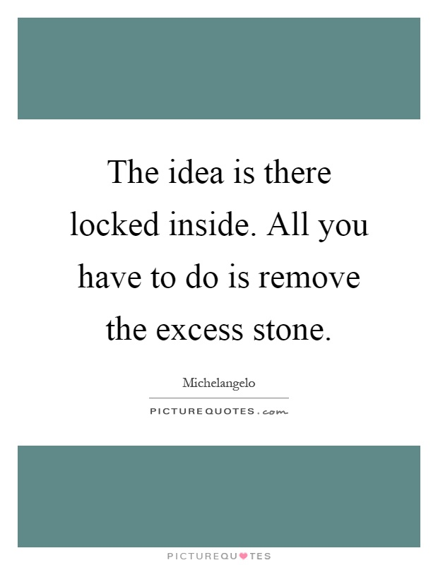 The Idea Is There Locked Inside All You Have To Do Is