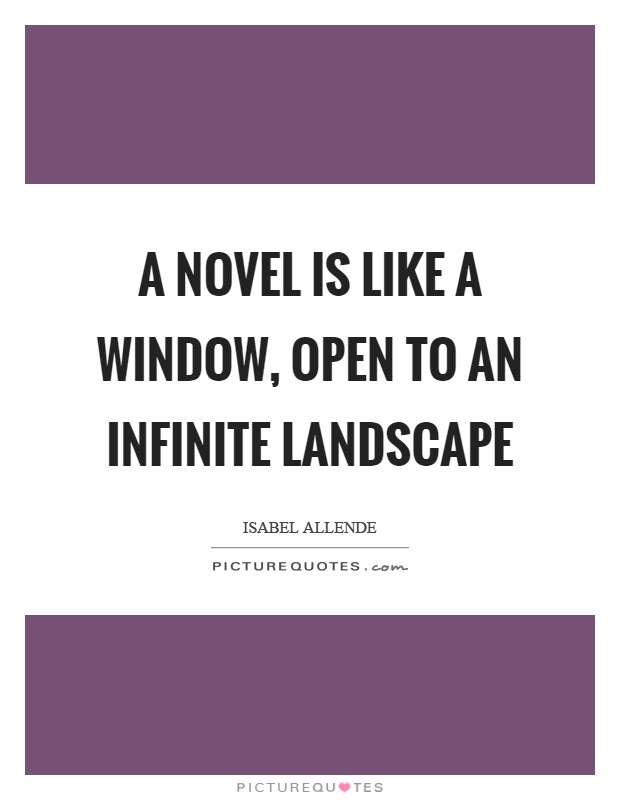 A novel is like a window, open to an infinite landscape Picture Quote #1