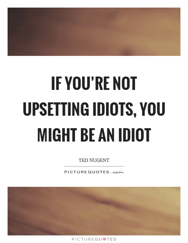If you're not upsetting idiots, you might be an idiot Picture Quote #1