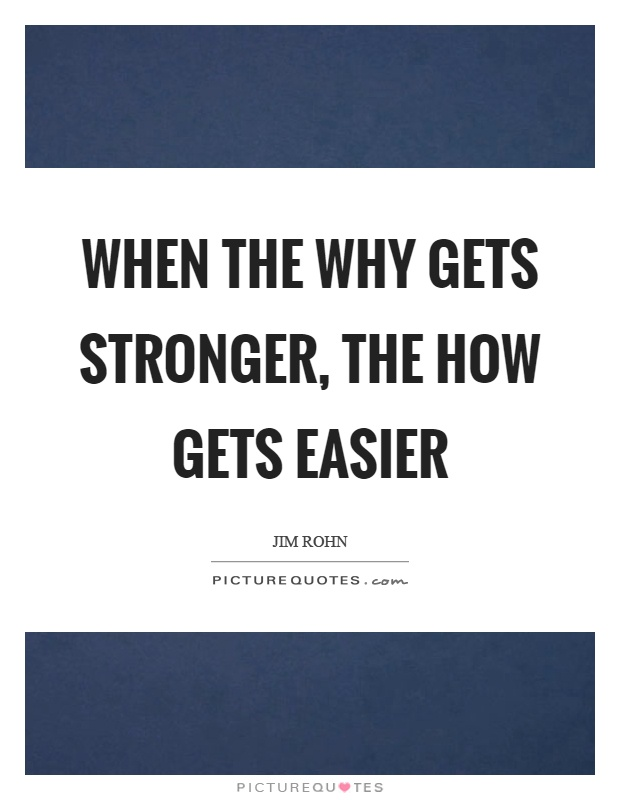 When the why gets stronger, the how gets easier Picture Quote #1