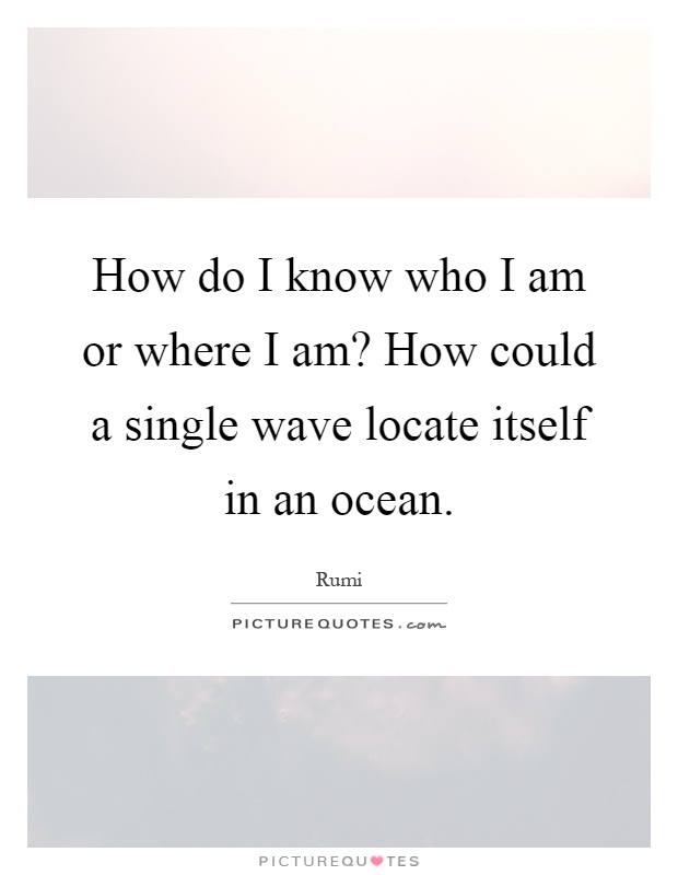 How do I know who I am or where I am? How could a single wave locate itself in an ocean Picture Quote #1