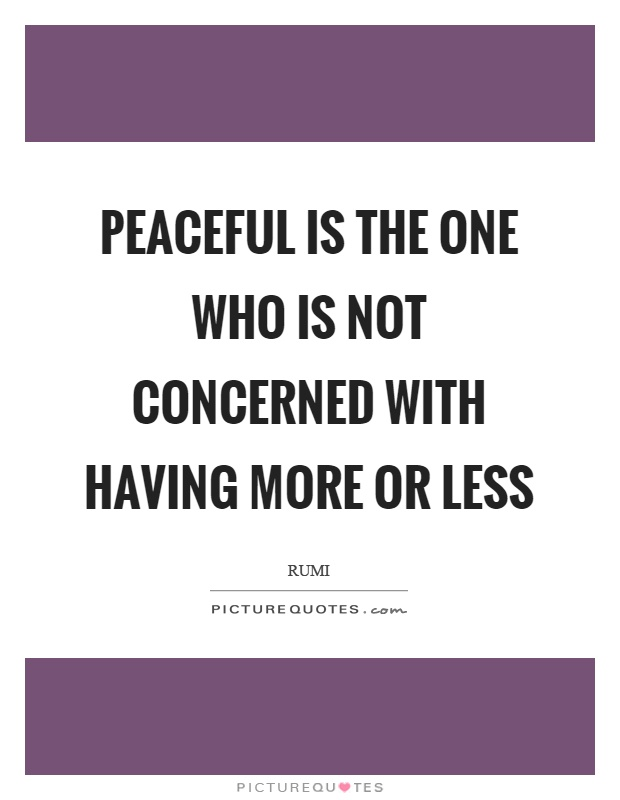Peaceful is the one who is not concerned with having more or less Picture Quote #1