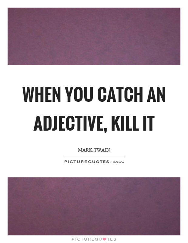 When you catch an adjective, kill it Picture Quote #1