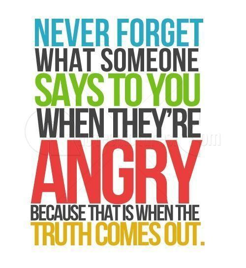 Never forget what someone says to you when they're angry because that is when the truth comes out Picture Quote #1