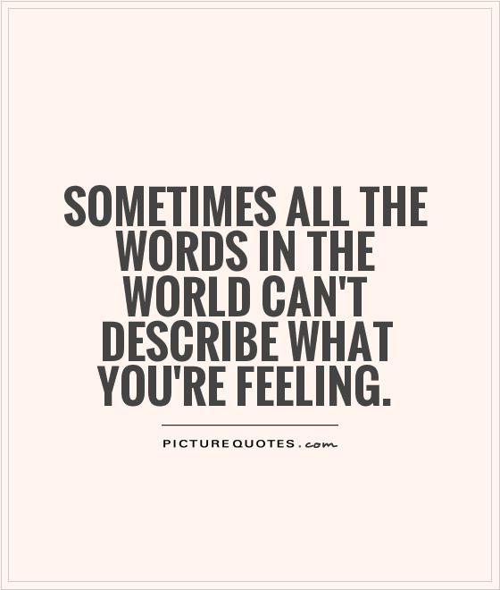 Sometimes all the words in the world can't describe what you're feeling Picture Quote #1
