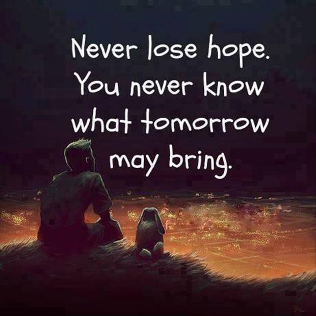 Never lose hope. You never know what tomorrow may bring Picture Quote #1