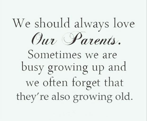 We should always love our parents. Sometimes we are busy growing up and we often forget that they're also growing old Picture Quote #1