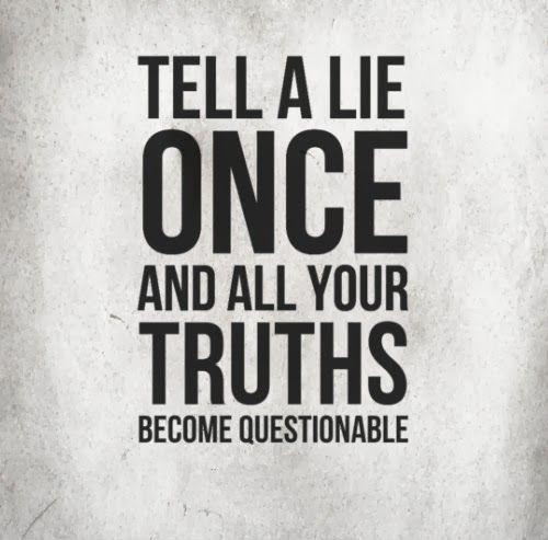 Tell a lie once and all your truths become questionable Picture Quote #1