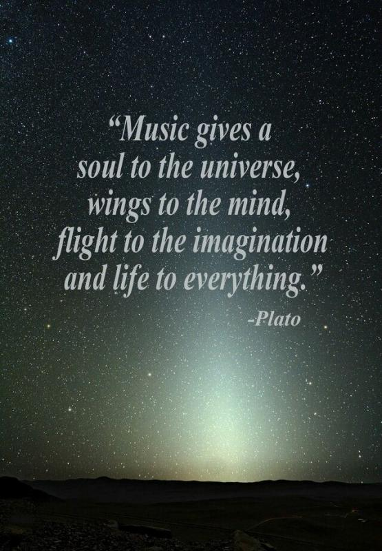 Music gives a soul to the universe, wings to the mind, flight to the imagination and life to everything Picture Quote #1