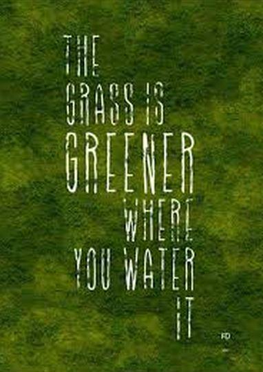 The grass is greener where you water it Picture Quote #1
