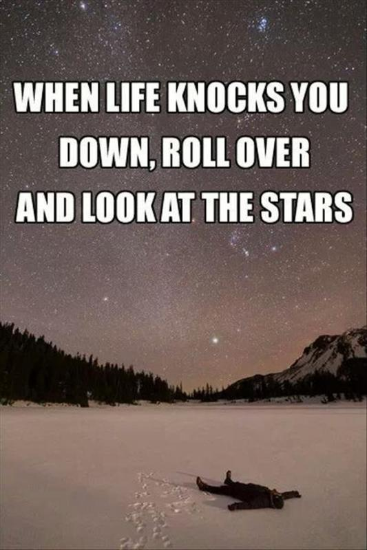 When life knocks you down, roll over and look at the stars Picture Quote #1