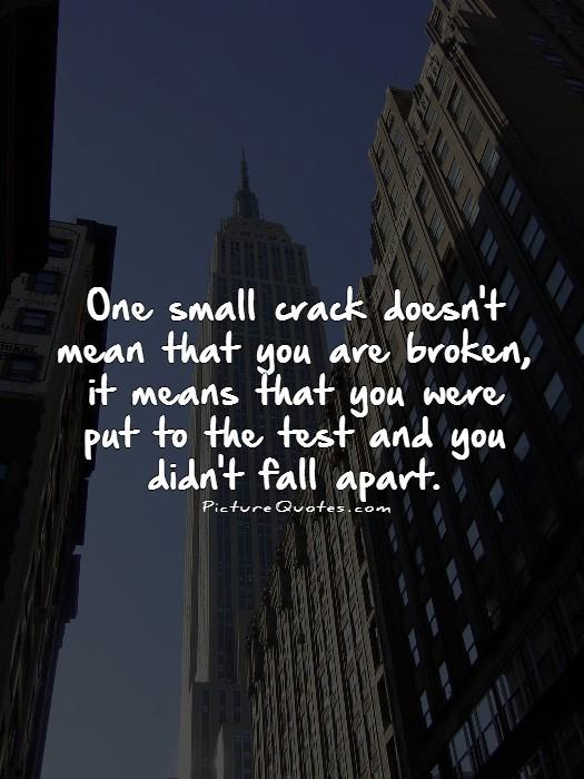 One small crack doesn't mean that you are broken, it means that you were put to the test and you didn't fall apart Picture Quote #1