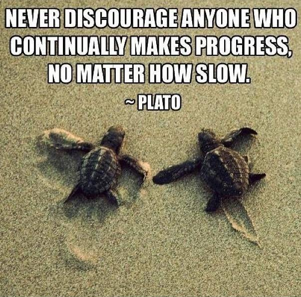 Never discourage anyone who continually makes progress, no matter how slow Picture Quote #1