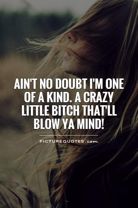 Ain't no doubt i'm one of a kind. A crazy little bitch that'll blow ya mind! Picture Quote #1