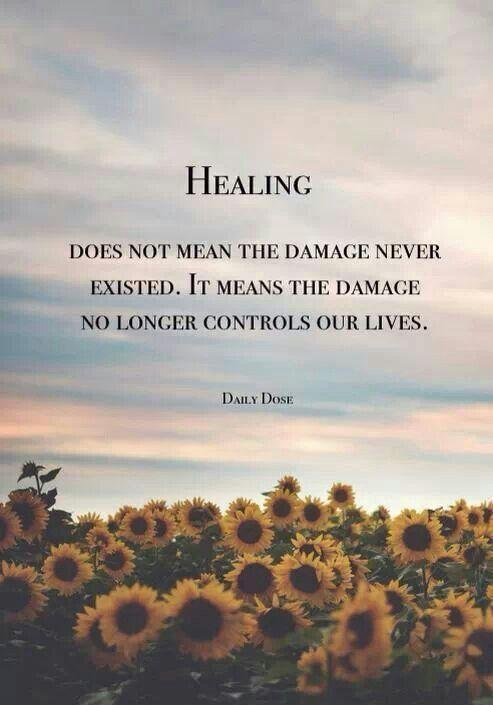Healing does not mean the damage never existed. It means the damage no longer controls our lives Picture Quote #1