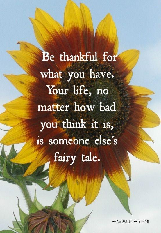 Be thankful for what you have. Your life, no matter how bad you think it is, is someone else's fairy tale Picture Quote #1