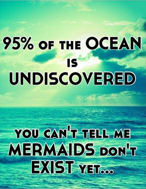 95 percent of the ocean is undiscovered. You can't tell me mermaids don't exist yet Picture Quote #1