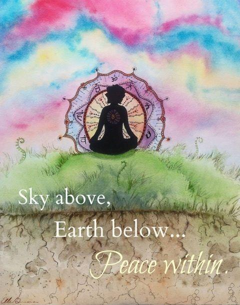 Sky above, Earth below... Peace within Picture Quote #1