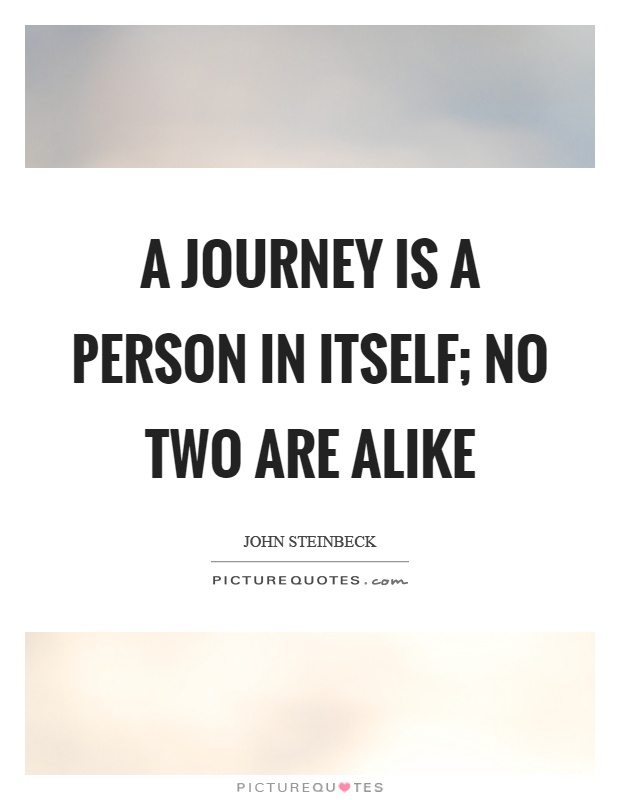 A journey is a person in itself; no two are alike Picture Quote #1