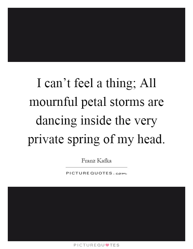 I can't feel a thing; All mournful petal storms are dancing inside the very private spring of my head Picture Quote #1